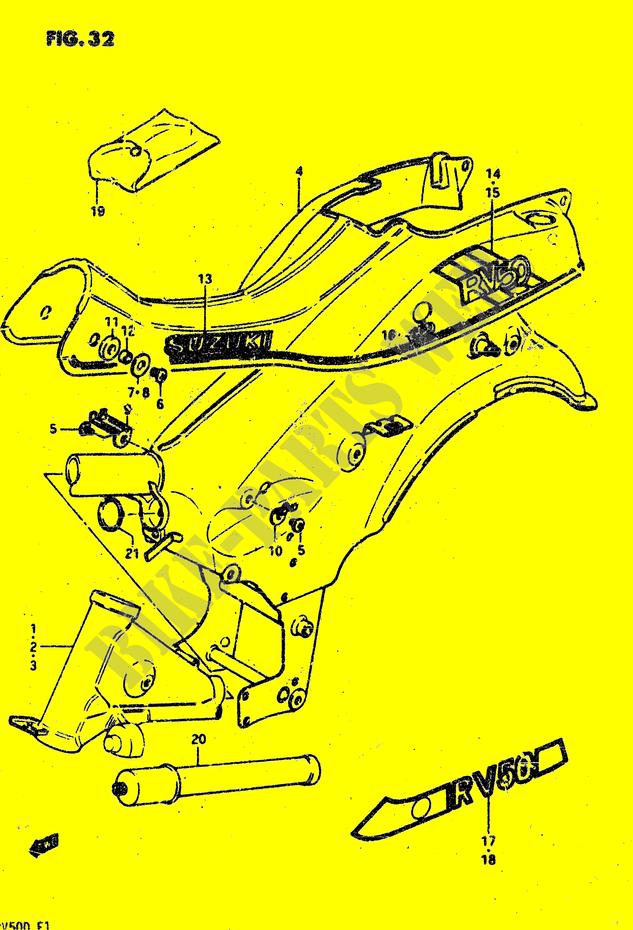 RAHMEN MODELE X VERKLEIDUNG RAHMEN RV50 X 1981 VAN VAN 50 MOTO ...