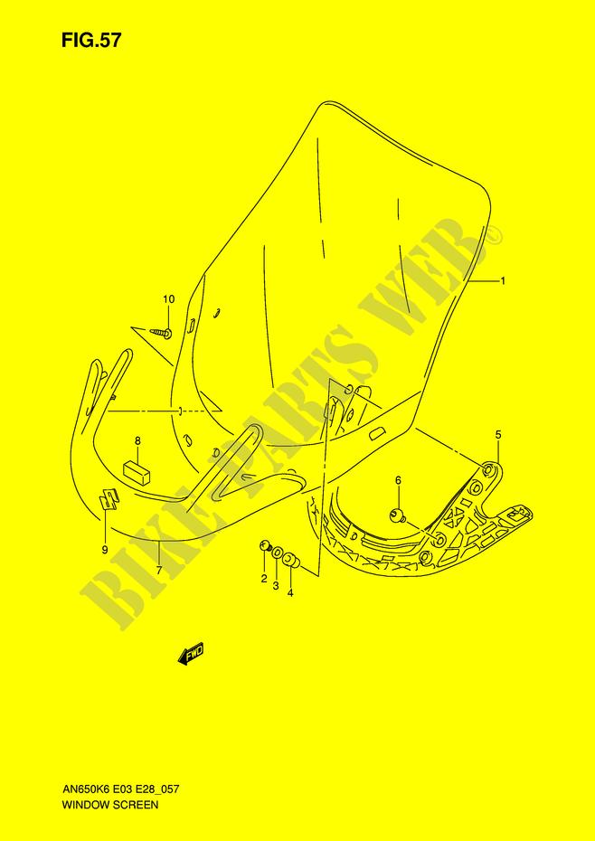 WIND SCHOTT AN650 VERKLEIDUNG RAHMEN AN650AL0 E3 E28 2010 BURGMAN ...