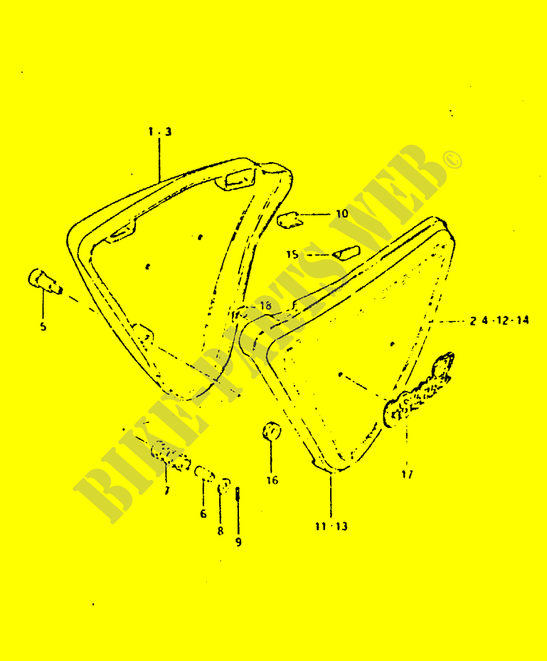 RAHMEN VERKLEIDUNG GSX400LT VERKLEIDUNG RAHMEN GSX400LT T X 1996 ...